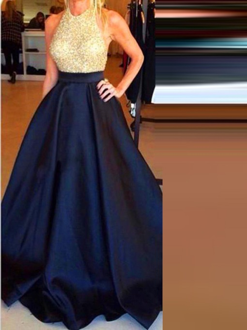 A-Line Sleeveless Halter Beading Floor-Length Prom Dress