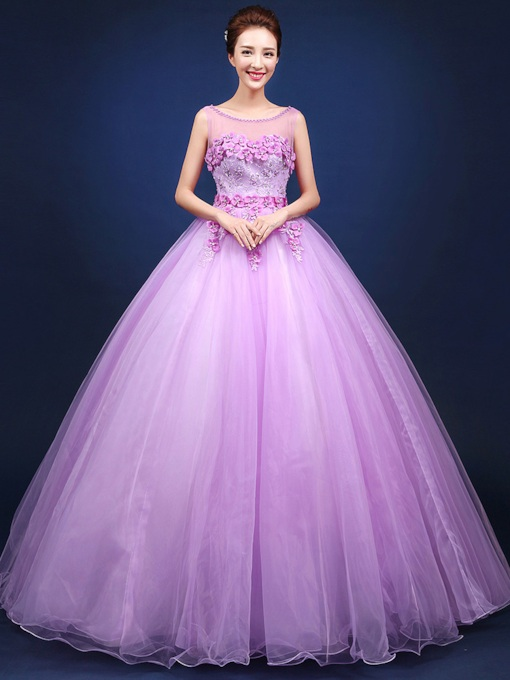 Flowers Lace Beading Bateau Floor Length Ball Gown Dress