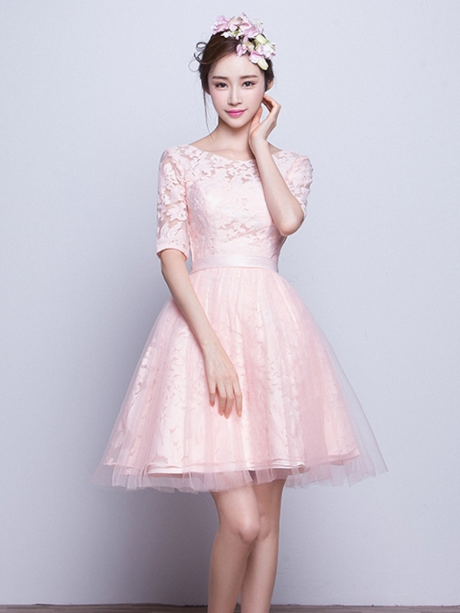 A-Line Half Sleeves Scoop Lace Bridesmaid Dress