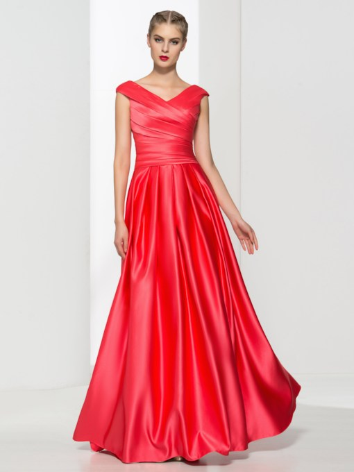 A-Line Zipper-Up V-Neck Pleats Floor-Length Evening Dress