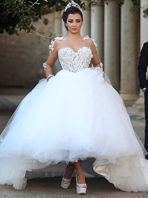 Appliques Long Sleeves Ball Gown Wedding Dress