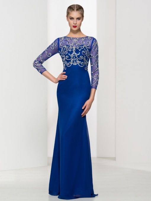 Sheath Beading Sequins Sheath Evening Dress