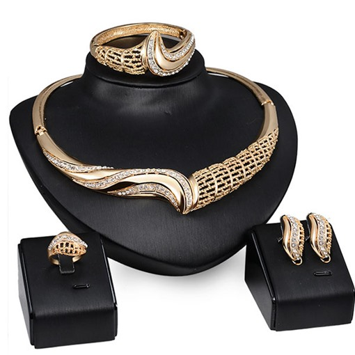 European Golden Hollow with Rhinestone 4 Piece Jewelry Set