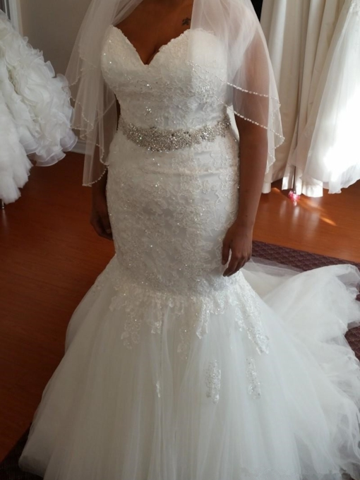 Sweetheart Appliques Beading Plus Size Mermaid Wedding Dress 2019