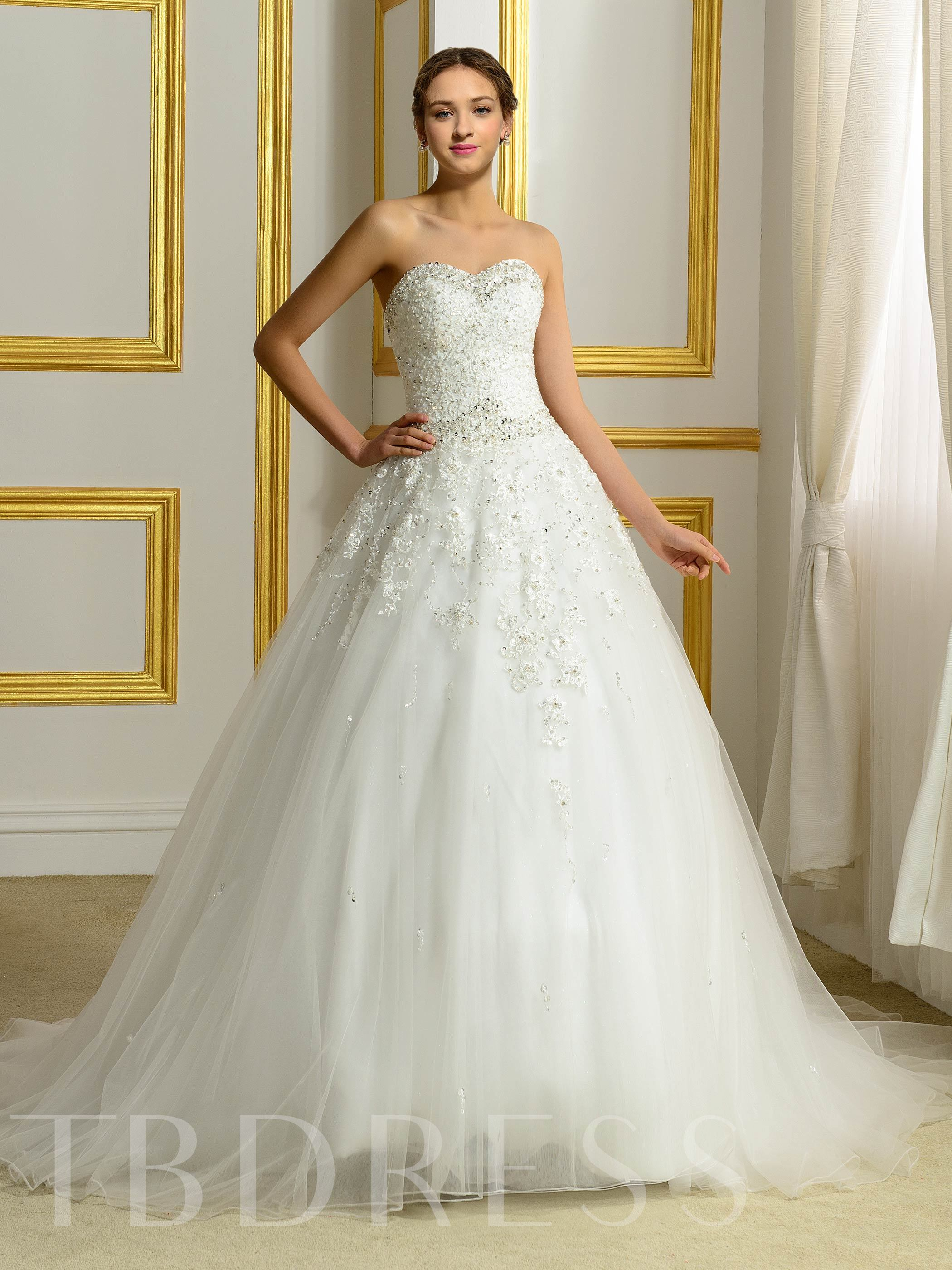 Image of Appliques Beading Sweetheart Ball Gown Plus Size Wedding Dress
