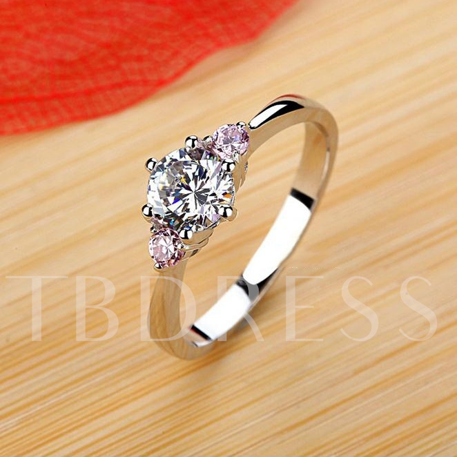 Silver Plating Platinum Pink Diamond Shaped Ring