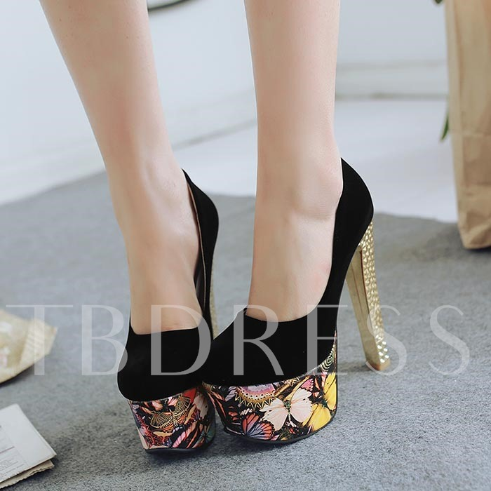 Round Toe Slip-On Platform Chunky Heel Women's Pumps