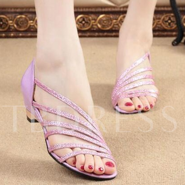 Plain Chunky Heel Slip-On Open Toe Sequins Women's Sandals