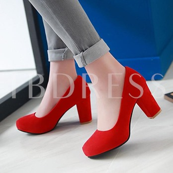 Round Toe Slip-On Plain Chunky Heel Women's Pumps