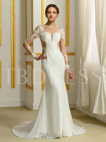 Open Back Long Sleeve Lace Chiffon Trumpet/Mermaid Wedding Dress