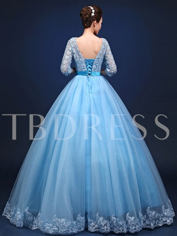 Beaded Lace Scoop Sashes Quinceanera Dress