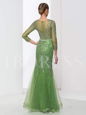 Scoop Neck 3/4 Length Sleeves Trumpet Beading Lace Sequins Evening Dress