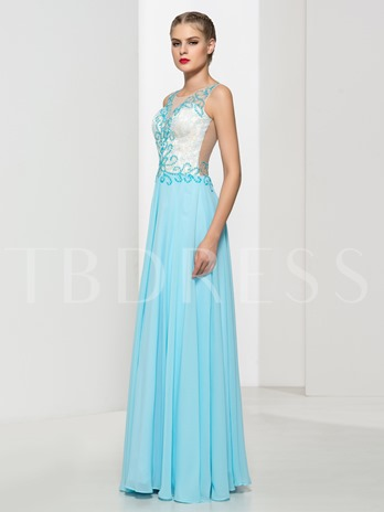 Lace A-Line Scoop Neck Beading Sequins Floor-Length Evening Dress