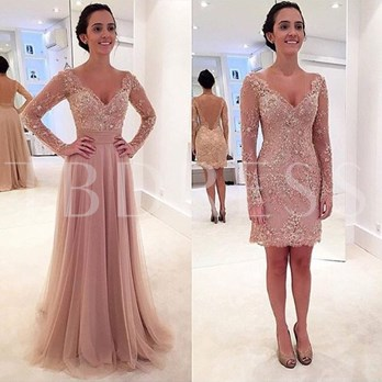 Long Sleeves V-Neck A-Ling Beading Lace Sweep Train Evening Dress