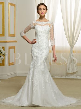 Lace Appliques 3/4 Length Sleeves Mermaid Wedding Dress