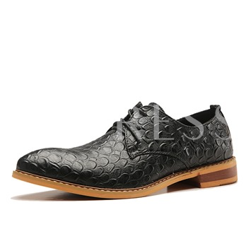 Square Low Heel Pointed Plaid Men's Oxfords
