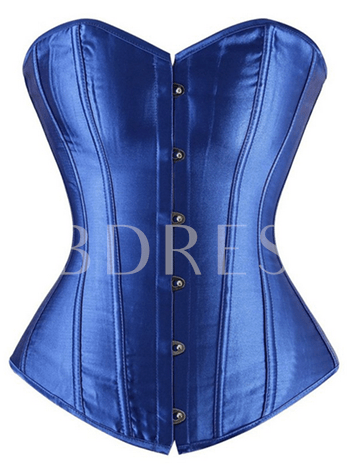 Solid Color Waist Cincher Overbust Lace Up Corset