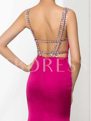 V-Neck Mermaid Beading Brush Train Evening Dress