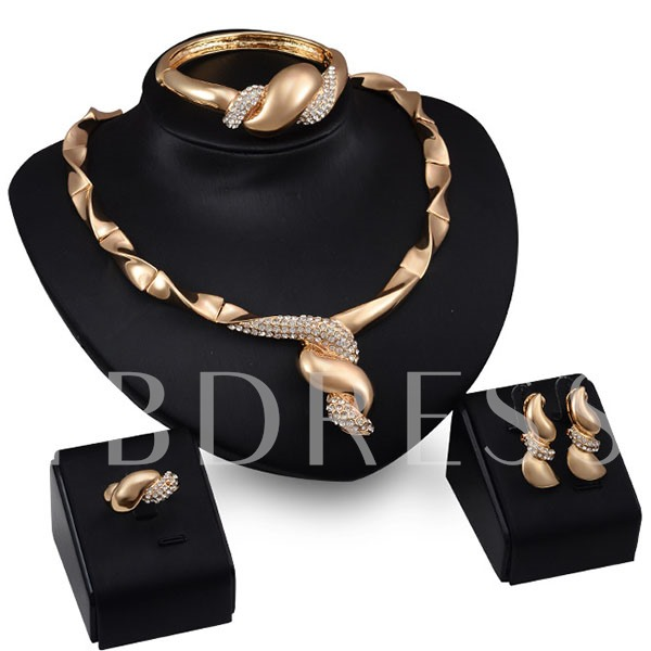 Gene Warping Shape 4 Piece Jewelry Set