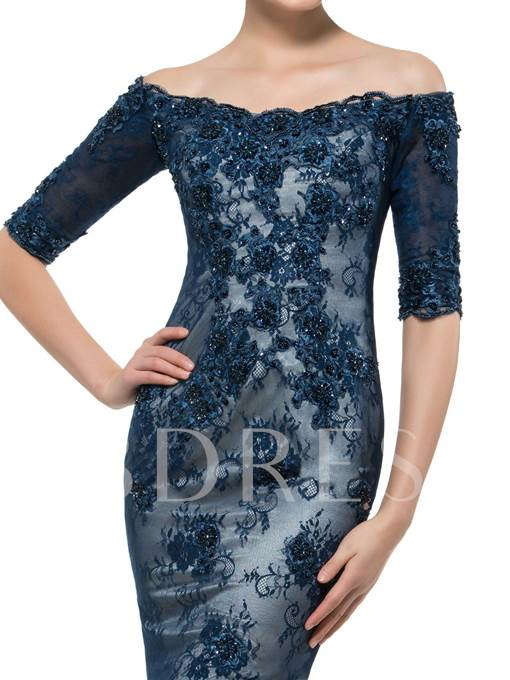 Half Sleeve Beaded Lace Mother of the Bride Dress