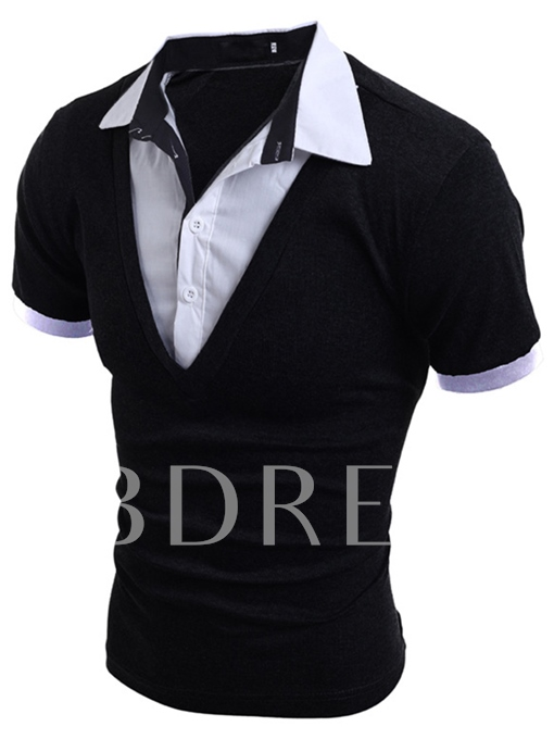 Men's Polo Shirt with Layered Turn-Down Collar