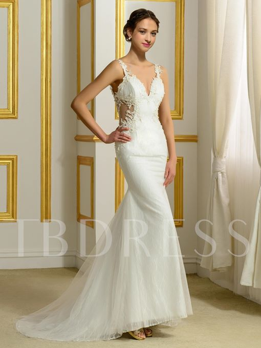 Backless Lace Appliques Mermaid Wedding Dress