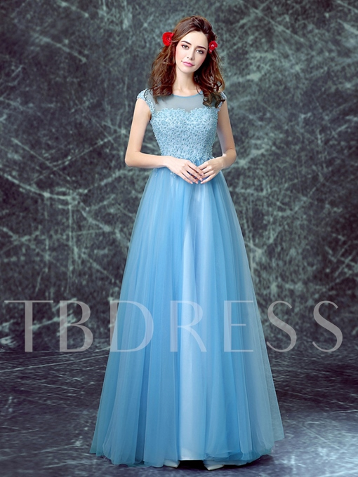 A-Line Scoop Neck Appliques Pearls Evening Dress