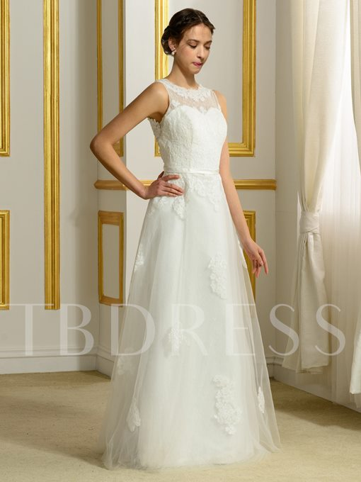 A-Line Tulle Floor-Length Sleeveless Appliques Lace Wedding Dress