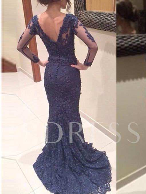 Trumpet Sashes V-Neck Button Lace Court Train Evening Dress