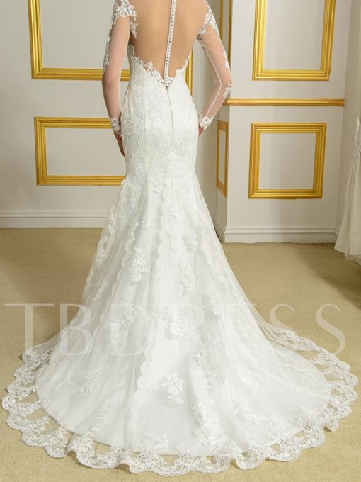 Scoop Neck Long Sleeves Appliques Mermaid Court Train Wedding Dress