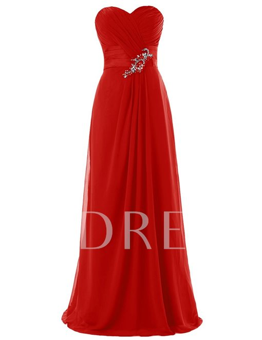 Sweetheart Ruched Beading A-Line Zipper-Up Bridesmaid Dress