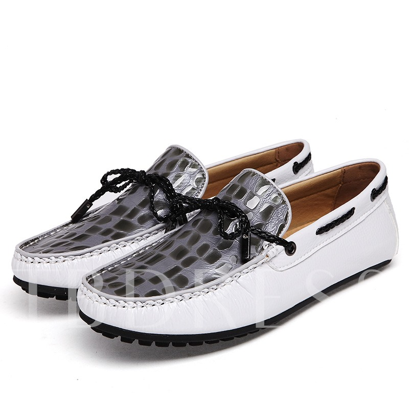 Square Toe Flat Heel Bowtie Men's Loafers Boat Shoes