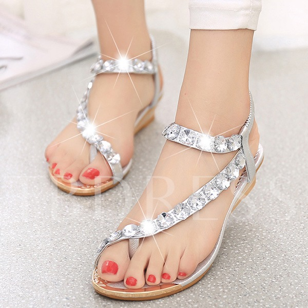 Toe Thong Rhinestone Elastic Band Plain Women's Sandals