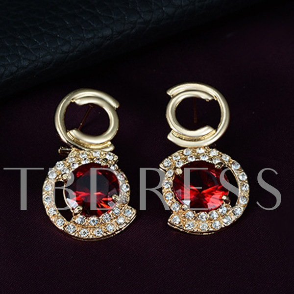 Round Red Gem Gold Four-Piece Jewelry Set