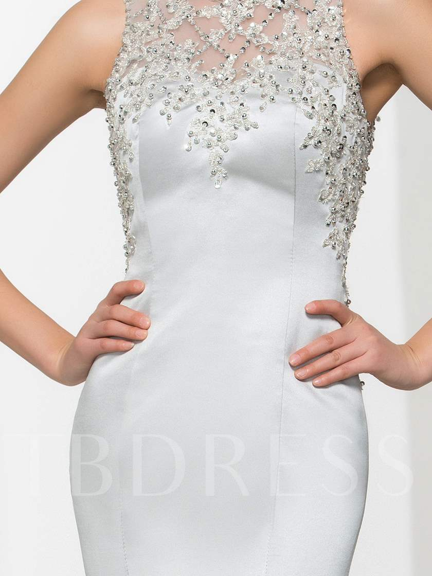 Jewel Appliques Beading Button Sequins Evening Dress