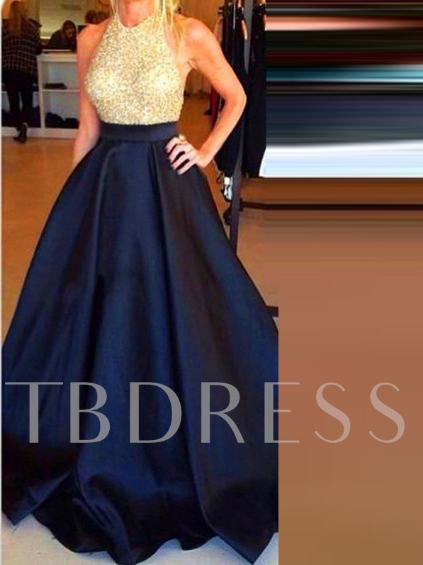 A-Line Halter Beading Floor-Length Prom Dress