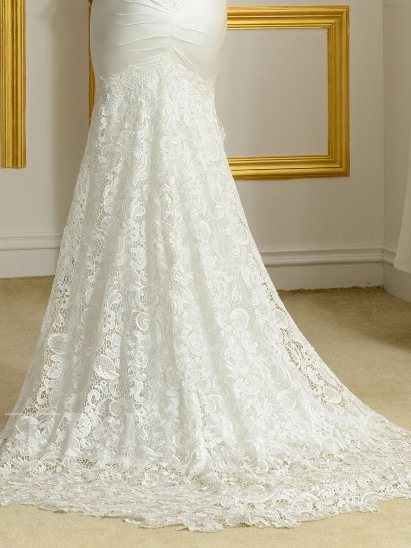 V-Neck Lace Open Back Floor-Length Mermaid Wedding Dress