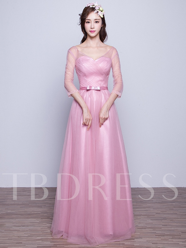 V-Neck 3/4-Length Sleeves Lace-Up Bridesmaid Dress