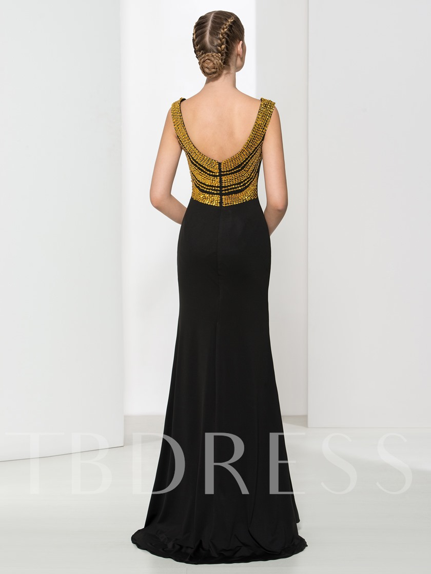 Sheath Straps Beading Sequins Split-Front Brush Train Evening Dress