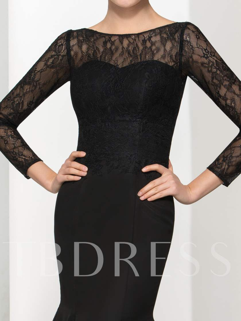 Long Sleeves Mermaid Backless Lace Evening Dress