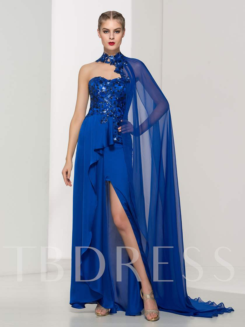 A-Line Sweetheart Appliques Sequins Evening Dress