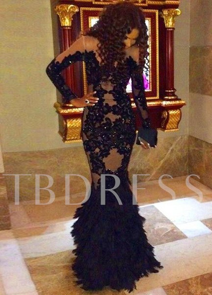 Long Sleeves Sequins Appliques Mermaid Evening Dress