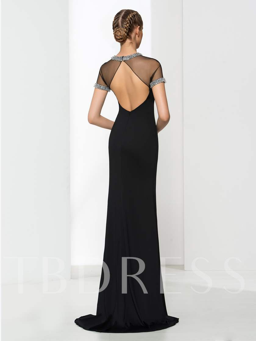 Jewel Sheath Beading Split-Front Evening Dress