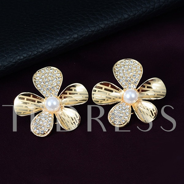 Golden Pearl Flowers Four-Piece Jewelry Set