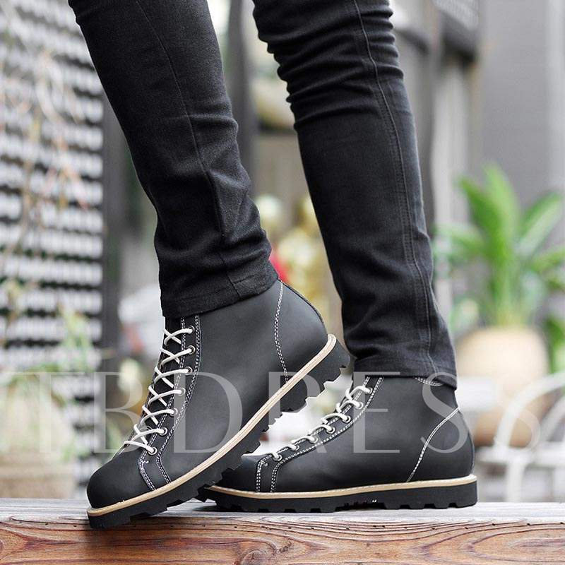 Round Toe Square Low Heel Patchwork Cross Strap Men's Oxfords