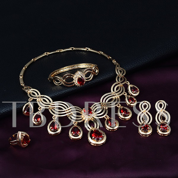 Vintage Ruby Gold Alloy Four-Piece Jewelry Set