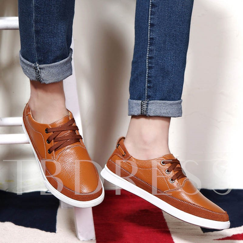 Patchwork Round Toe Cross Strap Men's Oxfords