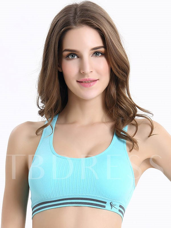 Double-Stripe-Hem Molded Women Sports Bra