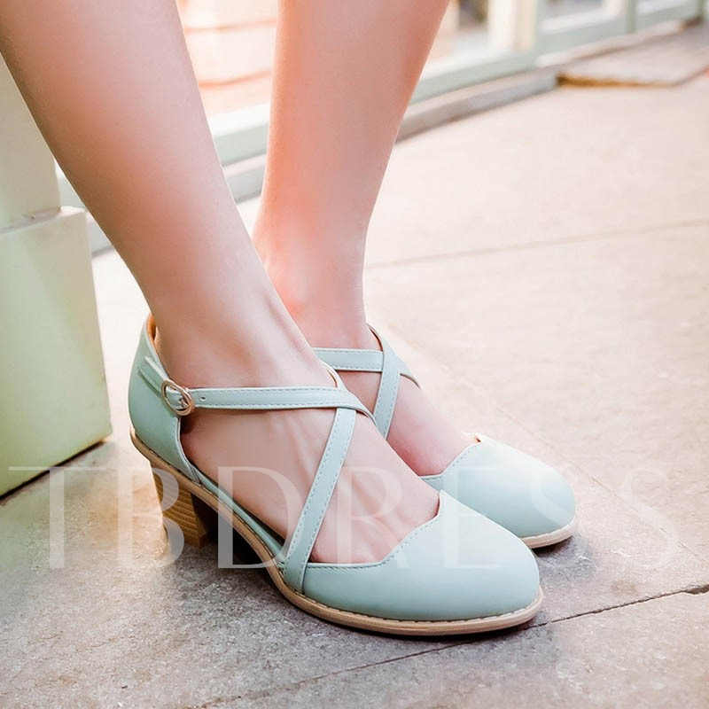 Round Toe Plain Chunky High Heel Lolita Women's Pumps