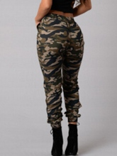 Camouflage Printed Drawstring Women's Jeans